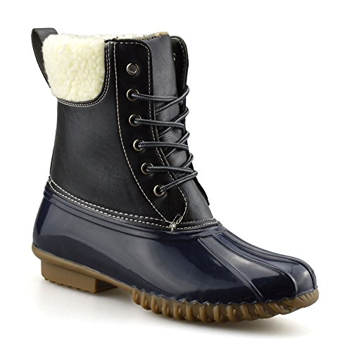 EpicStep Ladies Womens Walking Hiking Waterproof Winter Rain Mucker Ankle Boots Shoes Black Navy wkMPe