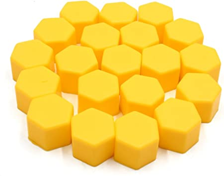 uxcell 20pcs 19mm Yellow Luminous Silicone Auto Car Wheel Lug Nut Bolt Hub Screw Cover