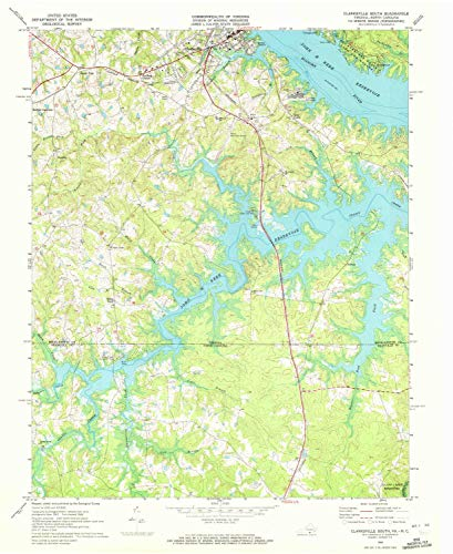 YellowMaps Clarksville South VA topo map, 1:24000 Scale, 7.5 X 7.5 Minute, Historical, 1968, Updated 1972, 26.9 x 22.1 in - Paper