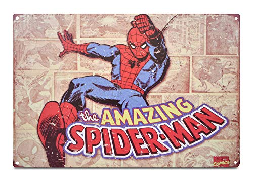 (K&H Spiderman Retro Metal Tin Sign Poster Wall Display 12X8-Inch)