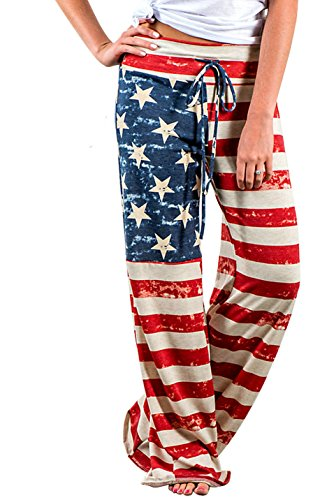 American Lounge Pants - Elsofer 4th of July Pants for Women July 4th Womens Clothing Ladies USA American Flag Print Patriotic Casual Pants (Tag XXL (US 12), Red)