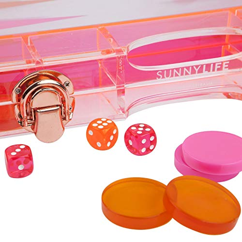 SunnyLIFE Travel Backgammon Game Set w/Transparent Waterproof Lucite Board - Neon Turquoise Orange by SunnyLIFE (Image #2)