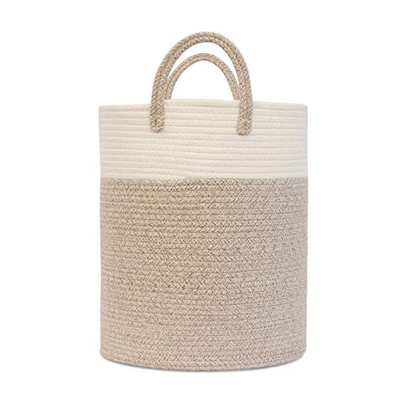 """OrganiHaus XL Large Rope Laundry Basket – Tastefully Appointed Extra Large Decorative Hamper, 100% Natural Cotton Storage Basket, Rope Basket, Toy Basket, Blanket Basket, Pillow Basket - 15"""" x 18"""" - ⭐️ LOVELY OFF WHITE WITH WICKER BROWN BASE - This has a pure, natural vibe and beautiful look. These go well in any room in your home. The Jongui is a special creation our customers love. Choose from two popular sizes. Many people buy both to fully outfit their living room, laundry, and bedroom. 100% natural hand woven basket you won't want to be without ⭐️ CHOOSE FROM TALL OR WIDE SHAPED - This tall basket makes a natural way to store and organize clothing, big pillows, blankets, kids toys, and a variety of supplies and craft accessories. We like how one is quite compact for small spaces while the oversized basket spreads out to accommodate bulkier items like large blankets and throw pillows ⭐️ ECO-FRIENDLY NATURAL HANDMADE cotton rope has no plastic, harsh chemicals, toxins, or harmful additives. Safe for kids and perfect for nursery storage too. Big easy-carry handles make this basket the most portable. Compare to other baskets with small handles that need both hands to carry or plastic ones that hurt you - laundry-room, hampers-baskets, entryway-laundry-room - 51ZTulE72NL. SS570  -"""