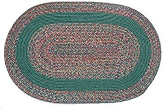 product image for Oval Braided Rug (3'x5'): Barbara Blend - Dark Green Band