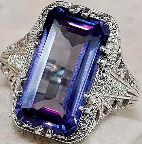 Dokis 925 Sliver Jewelry Men Women Blue Sapphire Engagement Gift Ring Size 6-10 | Model RNG - 16909 | 10