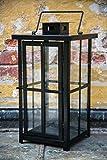 Schwere Metall Laterne - Schwarz Pulverbeschichtet - stablie Qualität