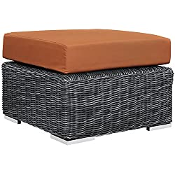 Modway Summon Outdoor Patio Ottoman With Sunbrella Brand Tuscan Orange Canvas Cushions