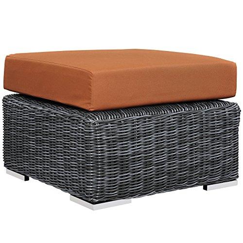 Modway Summon Outdoor Patio Ottoman With Sunbrella Brand Tuscan Orange Canvas Cushions