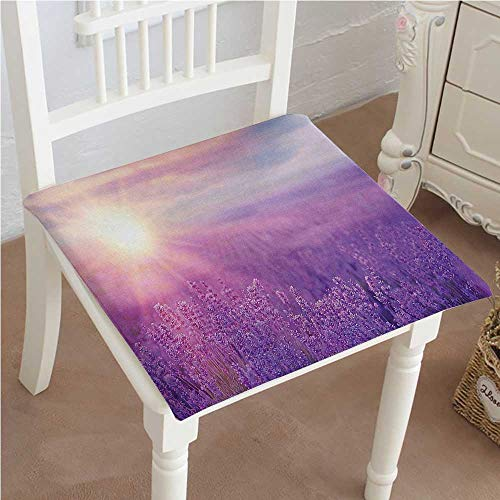 Outdoor Chair Cushion Sunset Horizon over Lavender Field in French Provence Floral Rural Picture Image Violet Comfortable, Indoor, Dining Living Room, Kitchen, Office, Den, Washable 22