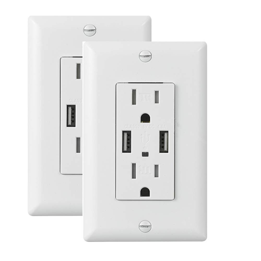 Ecoeler 4.8A USB Outlet, USB Wall Outlet, 15 Amp Tamper Resistant Duplex Receptacle USB Charger Power Outlet,UL Listed, Wall Plate Include(2 Pack)