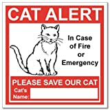 SecurePro Products 6 Cat Alert Safety Warning Window Door Stickers; In Case of Fire Notify Rescue Personnel to Save Cat