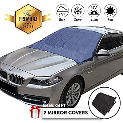 H&L Highland Snow & Ice Winter Weather Car Windshield Cover – Protective 210 x 120cm Insulated Durable Vehicle Window Shield with Strong Magnetic Windproof Door Flap Edges, Bonus Mirror Guards