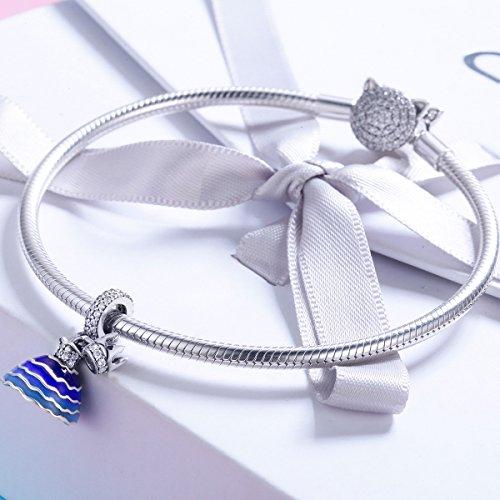 BAMOER 925 Sterling Silver Dream of Princess Love CZ Bead Charm for DIY Snake Chain Bracelet by BAMOER (Image #2)