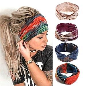 Gortin Boho Headbands Criss Cross Hair Bands Stretch Yoga Sweatband Turban Tie Dye Wide Head Wraps Twist Head Bands for Women and Girls4 Pcs