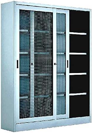 Armadi Archivio Ante Scorrevoli.Armadio In Metallo Ufficio Archiviazione Ante Scorrevoli In Rete 120x45x200h Amazon It Fai Da Te