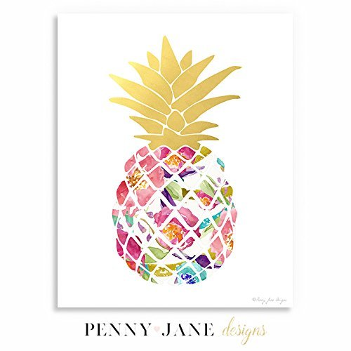 Watercolor Gold Pineapple Print By Penny Jane Designs 5x7 11x14 And 16x20