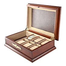 New Classic Wood Watch Display Valet Box organizer Antique Walnut Finish with Lock