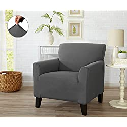 Home Fashion Designs Form Fit Stretch, Stylish Furniture Cover/Protector Featuring Lightweight Twill Fabric. Dawson Collection Basic Strapless Slipcover Brand. (Chair, Grey)