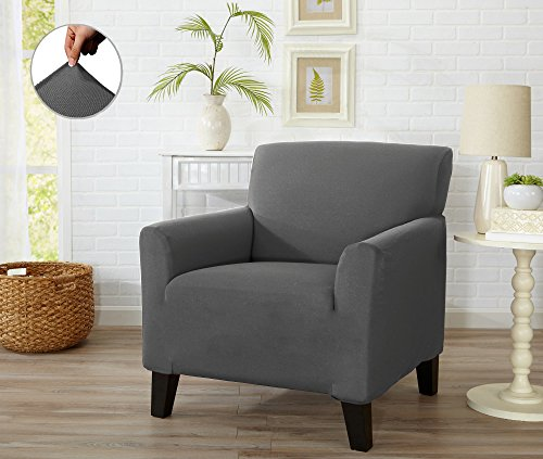 Form Fit Stretch, Stylish Furniture Cover / Protector Featuring Lightweight Twill Fabric. Dawson Collection Basic Strapless Slipcover. By Home Fashion Designs Brand. (Chair, Grey)