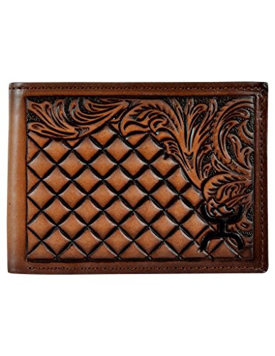 (Hooey Brand Signature Diamond Tooled Floral Border Leather Bifold Wallet - 1829161W3)
