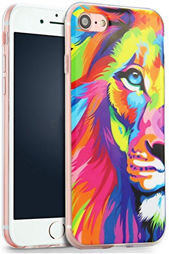 Price comparison product image iPhone 7 Lion Case, YFWOOD Colorful Lion Animal Shock Absorption Waterproof TPU Cover Lovely Lion Pattern Soft Silicone Cover for iPhone 7 Case