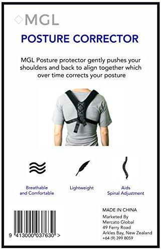MGL Posture Corrector for Men and Women - Back Support Brace - Fully Adjustable Unisex Upper Back Strap - Elastic Comfortable Breathable Shoulder Support - Mercato Global by MGL