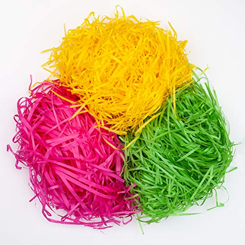 YIHONG 10.5oz (300g) Easter Grass Recyclable Shred Paper for Easter Gift Basket Filler Easter Party Decoration,Green,Pink and Yellow 3 Colors