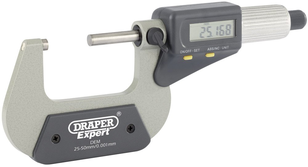 Draper 46600 Expert Dual Reading Digital External Micrometre, Blue, 25-50 mm/1-2-Inch