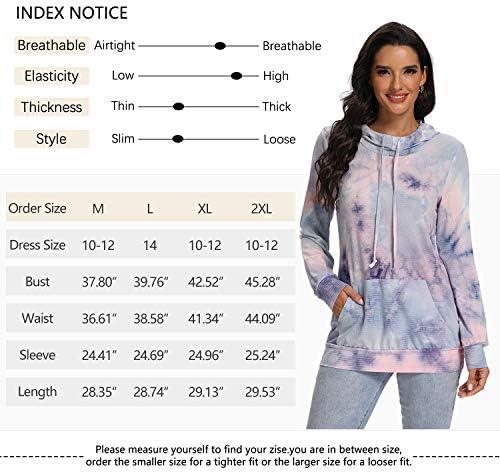 Hibelle Women's Pullover Sports Hoodies Workout Running Plain/Tie Dye Sweatshirts with Pockets