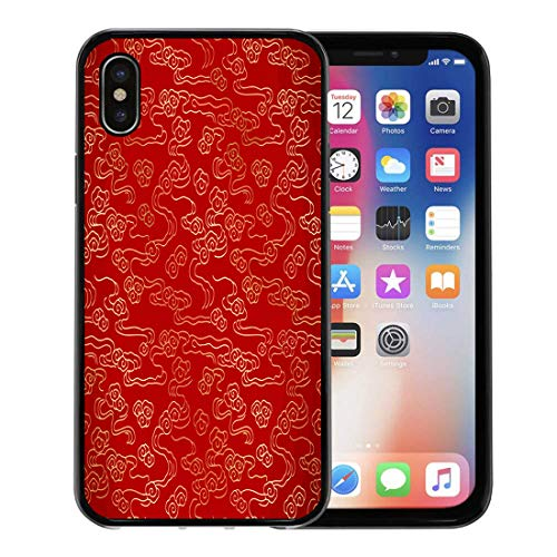 Semtomn Phone Case for Apple iPhone Xs case,Red Pattern Chinese Vintage Cloud Yellow Japanese China Brocade Gold for iPhone X Case,Rubber Border Protective Case,Black ()