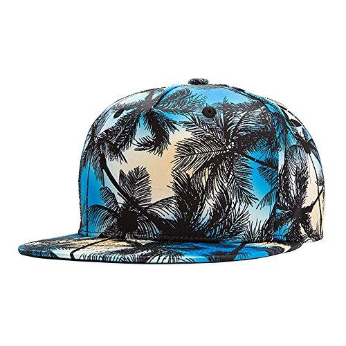 [Coconut Tree snapback Unisex Caps ,Sandbeach Travel Flat brim baseball Hats Blue] (Trucker Girl Costume)