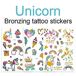 Children's Toys Creative Stickers Tattoos Bronzing Cartoon Children's Tattoo Designs of Antelope Unicorn Temporary Tattoo Stickers for Kid's Finger Face Tattoo
