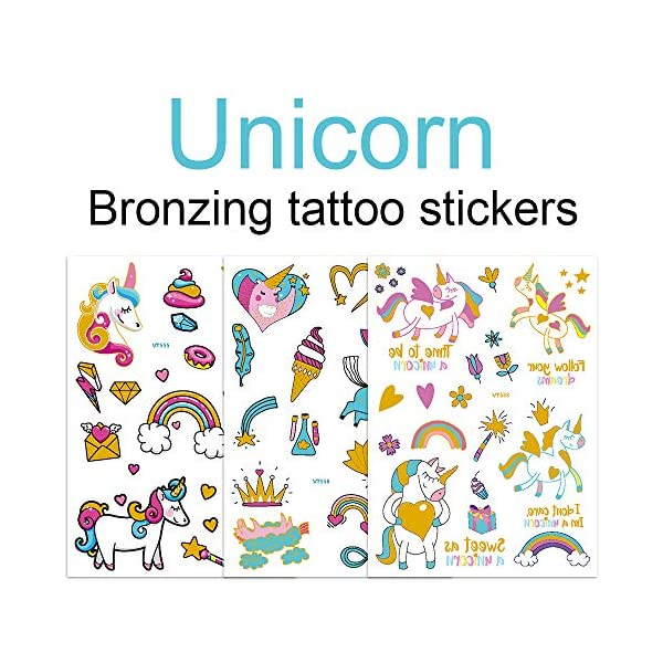 Children's Toys Creative Stickers Tattoos Bronzing Cartoon Children's Tattoo Designs of Antelope Unicorn Temporary Tattoo Stickers for Kid's Finger Face Tattoo 4