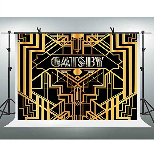 FHZON 10x7ft The Great Gatsby Themed Backdrop 1920s Retro Roaring Background Adult Children Decoration Celebration Art Decor Birthday Wedding Party Photography Wallpaper Photo Booth Props LXFH563]()