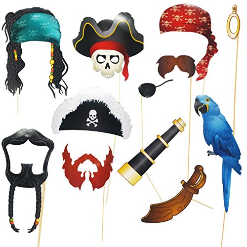 Play Kreative Pirate Photo Booth Props Set - Fun Pirate Party Supplies for Kids Pirate Birthday Party Decorations, Pirate Dress Up, Pirate Role Play and Halloween]()