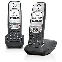 Gigaset A415 Duo Telefon - Schnurlostelefon/2 Mobilteile mit Grafik Display - Dect-Telefon mit Freisprechfunktion - Analog Telefon - Schwarz