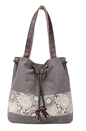 Handbag Canvas Shoulder Bag Retro Hobo Tote Women\'s Shopper Shopping Bag (Grey)
