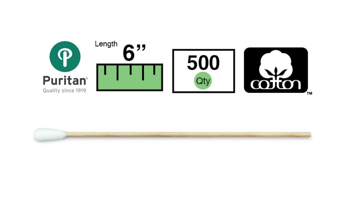 Puritan Cotton Swab, Extra Large Tip, 6In. Wood Shaft, 500/Box by Puritan