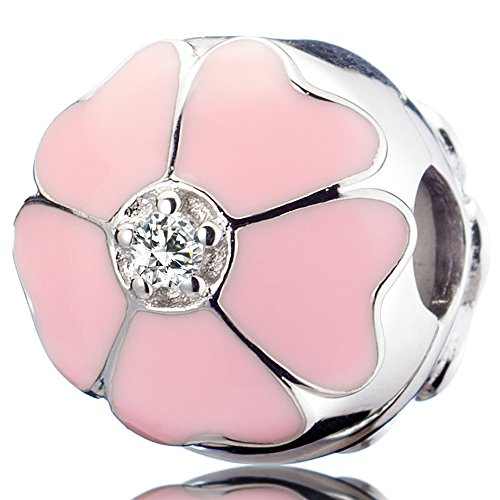 ATHENAIE 925 Sterling Silver Clips Romantic Love Pink Sakura Cherry Blossom Enamel Charms