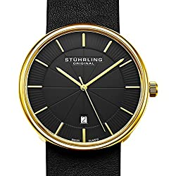 Stuhrling Original Classic Everyday Wrist Watch for Men, Casual Swiss Analog Stainless Steel Men's Quartz Wristwatch with Genuine Leather Strap, Modern Vintage look (Gold)