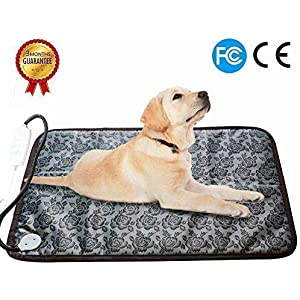RIOGOO Pet Heating Pad, Dog Cat Electric Heating Pad Indoor Waterproof Adjustable Warming Mat with