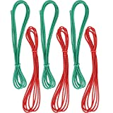 6 Pieces Chinese Jump Rope 157 Inches Stretch Skip Rope Adjustable Chinese Elastic Rope Fitness Jump Game for Outdoor Exercise (Red, Green)