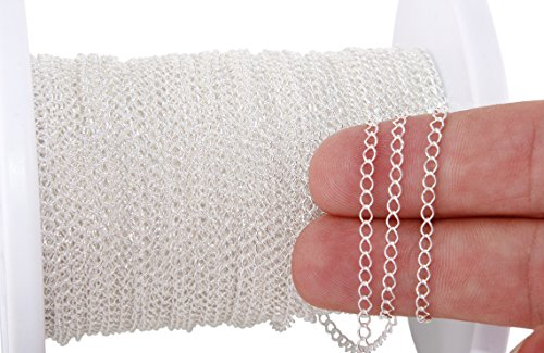 5 Feet Sterling Silver Curb Chain 3.1x2.2 mm For Diy Beading Arts and Crafts