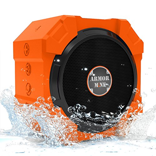 Shower Speaker Rugged Hi-Def Bass Sound | Best iPhone Speakers with Powerful Sound for Smartphone | Waterproof Shockproof Outdoor Ulta-Portable Bluetooth Speakers for His or Her Gift Sweet Orange