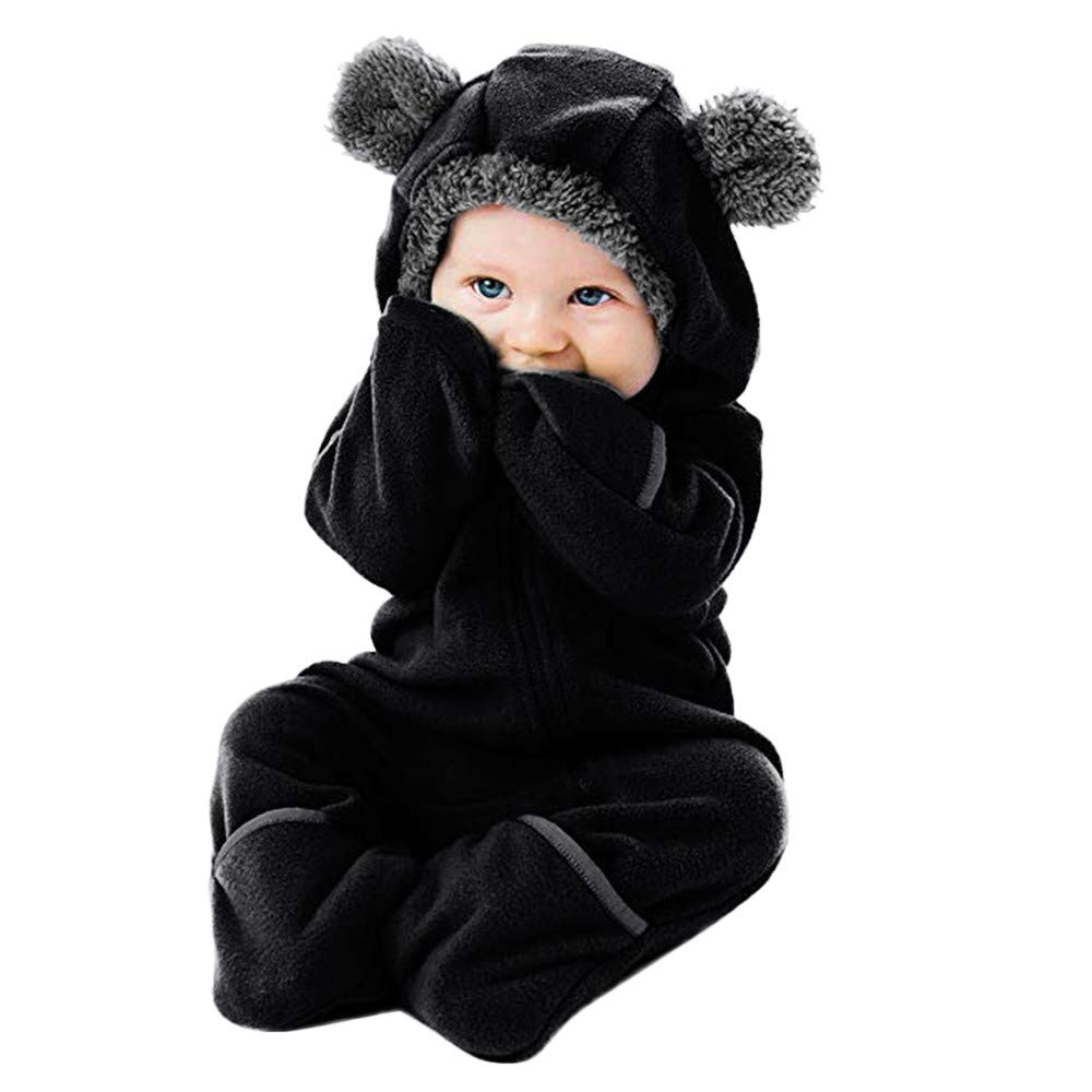 WUAI Baby Clothes Infant Toddler Baby Cartoon Ears Hoodie Romper Christmas Hooded Romper Jumpsuit Outfits(Black,18-24 Months)