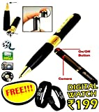 Spy Hd Pen Camera With Voice-Video Recorder And Dvr-Hidden-Camcorderwith free Digital wrist watch (Multi-color)