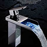 Furesnts Modern home kitchen and bathroom faucet The Brass Chrome Led Waterfall Basin Mixer Taps Temperature Control Hot And Cold Basin Single Hole Tower,(Standard G 1/2 universal hose ports)