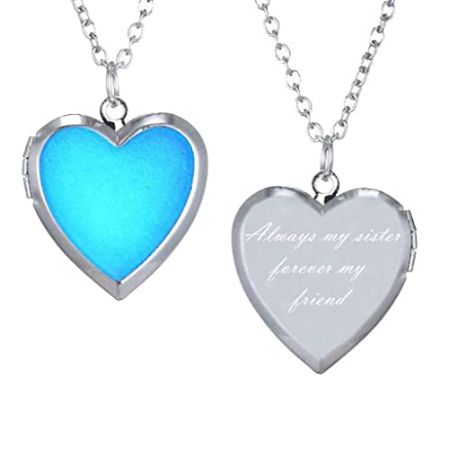 65c684bdaf Image Unavailable. Image not available for. Color: CliPons Heart Locket  Mood Pendant Charm Color Change Necklace Quote Always My Sister Forever ...
