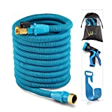 WEUE Garden Expandable Hose With Brass Fittings 9Spray Nozzle USA Standard Expanding Kink Free Easy Storage Good Flexible Water Hose. (100ft)