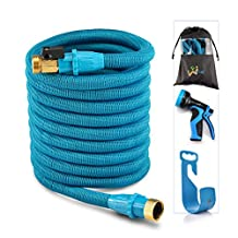 WEUE Garden Expandable Hose With Brass Fittings 9Spray Nozzle USA Standard Expanding Kink Free Easy Storage Good Flexible Water Hose. (75ft)